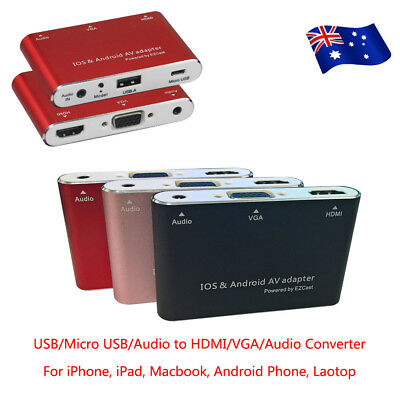 USB-A/Micro USB To VGA/HDMI/Audio Converter Box For iPhone iPad Android Phone