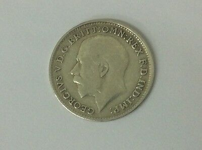 LUCKY 100 yr OLD COIN SILVER THREEPENCE 1917 IMAGINATIVE GIFT KING GEORGE 5th