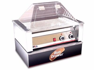 BRAND NEW! BenchmarkUSA 10 Hot Dog Roller Grill with Sneeze Guard and Bun Drawer