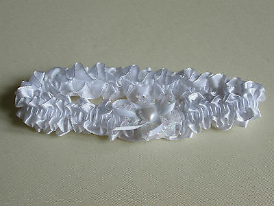 NEW White lace with white ribbon and heart pearl bow wedding bride garter