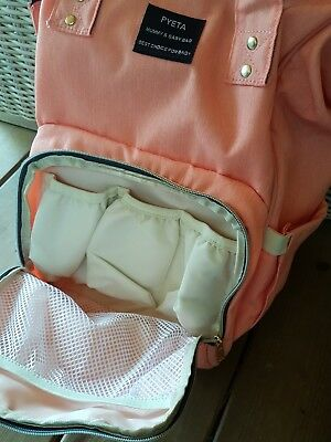 Sac a langer a dos PYETA mummy and baby bag NEUF 59 euros rose saumon ++ change
