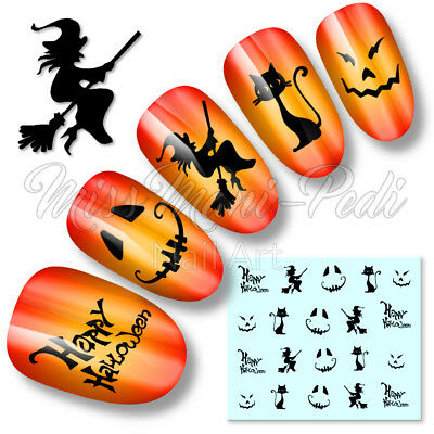 Halloween Nails Black Nail Water Decals Stickers Witches Cats Pumpkin Faces K099