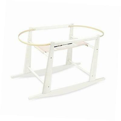 rocking wooden moses basket stand, antique white