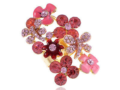 Fashion Cute Women Girl Pink Flower Floral Golden Tone Ring Party Jewelry Gift