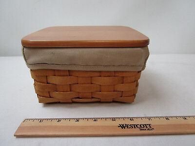 Longaberger Woodcrafts Handmade Baskets Lidded and Lined Mini Basket