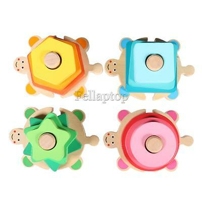 Toddler Kids Wooden Toy Geometric Shaped Sorter Column Colorful Blocks Toys