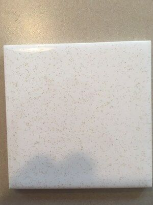 Mid-century vintage wall tile new 4 1/4 x 4 1/4  white with brown / tan specks