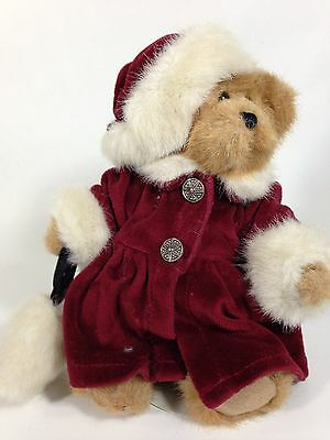 """Boyds Bears Plush Jointed 9"""" Christmas Girl Bear Stuffed Animal Red Green Outfit"""