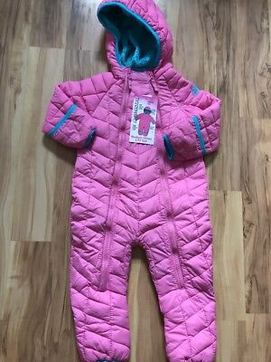 NWT Snozu Infant Girls One Piece Hooded Snowsuit 18 Months Pink