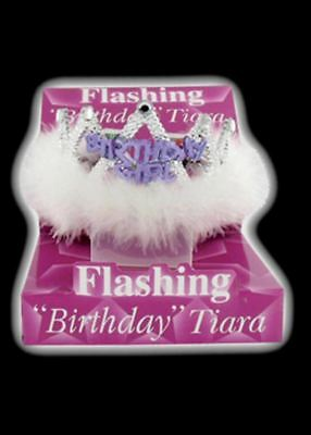 Flashing Birthday Tiaras Crown Women's Girls with Feathers and Marabou Trim