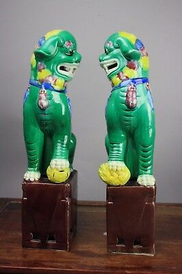 20th C. Pair Chinese Famille-rose Foo Lions