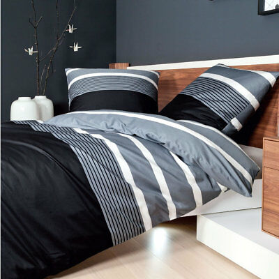 tlg bettw sche 155x220cm schwarz fein biber baumwolle garnituren neu. Black Bedroom Furniture Sets. Home Design Ideas