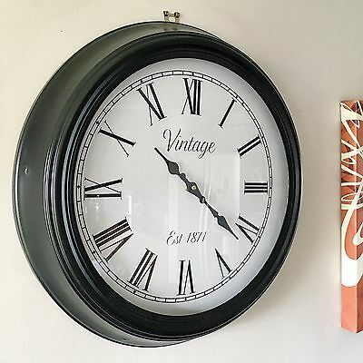 Ex Large Vintage Style Black Metal Wall Clock Roman Numeral School Office Home