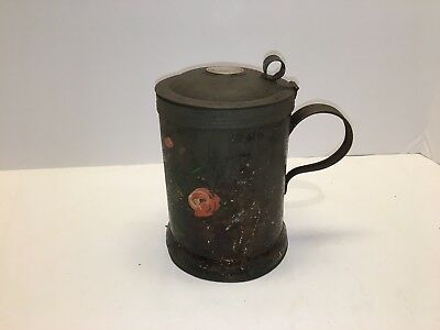 Primitive Lidded, Toleware Tankard - Brass or Copper Coin Impression on Top