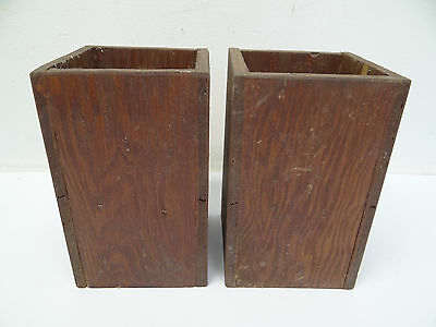 Two Antique Old Painted Red Oriental Chinese China Rectangular Wood Planters