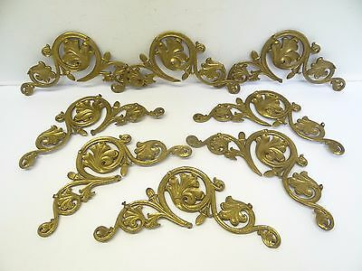 Antique Lot Old Brass Metal Decorative Corner Shelf Brackets Scrolled Parts Used