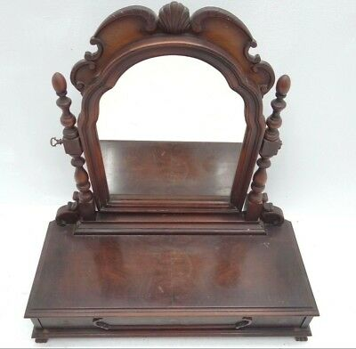 Vintage Wood Sliding Drawer Floral Vanity Cabinet Eagle Claw Feet Box Mirror