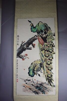 Chinese Signed Scroll Hand Painting: Peacockes