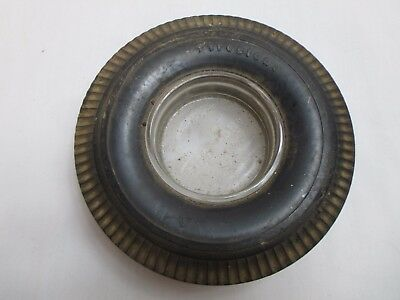 Vintage Firestone Tire Brand Ashtray with Glass Middle