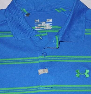 Mens GUC Blue/Green Striped UNDER ARMOUR Heat Gear Polo Shirt size L Loose