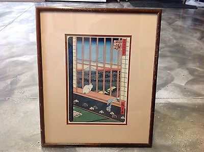 Vintage Japanese Woodblock Print CAT IN WINDOW Ando Hiroshige, Framed