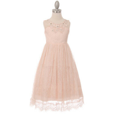 BLUSH Flower Girl Dress Wedding Party Graduation Recital Birthday Dance Formal