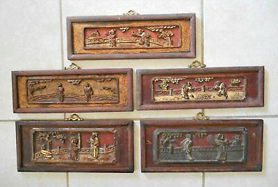 5 Wooden Wood Oriental Chinese Relief Carved Panels Wall Plaque Architectual