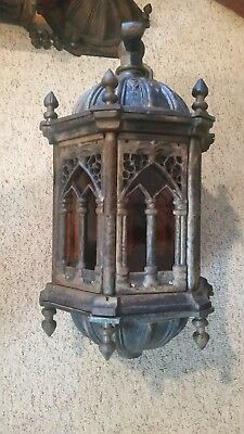 Pr Large Gothic Style Cast Iron Outdoor Sconces W/ Amber Artique Stained Glass