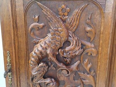 french antique carved wood door panel gothic griffin chimera gargoyle mythology