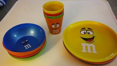 M&M Collector Plastic 5 Plates 5 Bowls 4 Cups.    B6