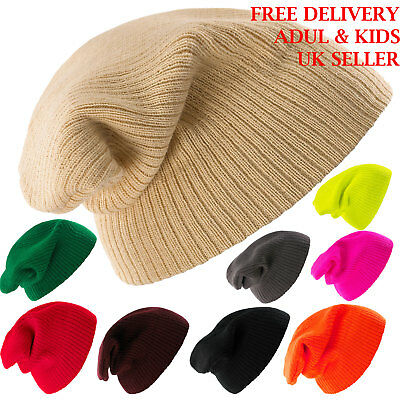 Mens Ladies Knitted Woolly Winter Oversized Slouch Beanie Hat Skateboard Stripes