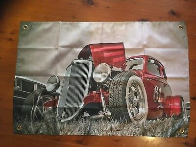 Hot rod 32 Ford 3x2 foot mancave flags shed poolroom wall hanging holden