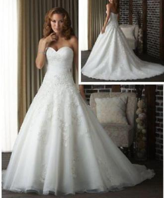 New A-Line White/Ivory Wedding Dress Organza Bridal Gown Stock Size US 2-20  Dfh