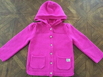 Ralph Lauren Baby Girl Hooded Jacket Size 24 Months in pink NWT
