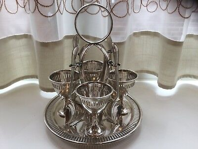 Lovely Antique Lee And Wigfull Silver Plated Egg Cup Holder And Spoons
