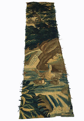 A Large Verdure 18th Century Tapestry Fragment with Ducks