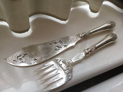 Beautiful Antique Victorian Silver Plated Chased Ornate Fish Servers