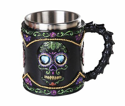 Day of the Dead Black Sugar Skull Floral Design Collectible Tankard 11oz