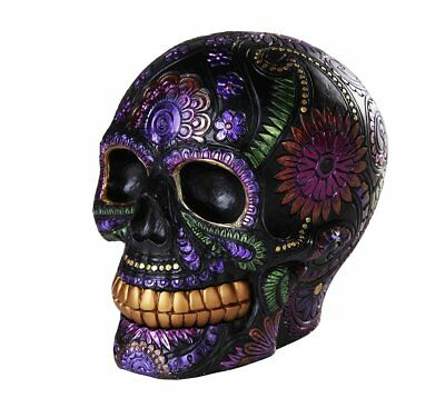 Day of the Dead Celebration Black Sugar Skull Floral Design Collectible 6 Inch
