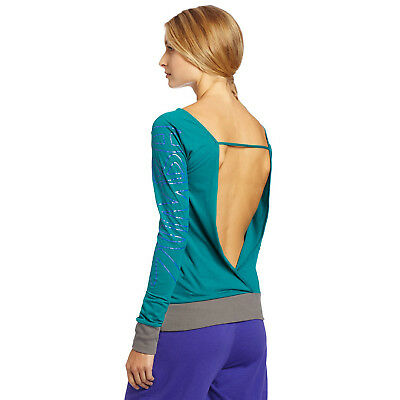 Zumba Dance Fitness Bliss Long Sleeve Backless Top -Peacock Blue / Grey NWT, XL