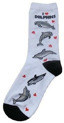 I Love Dolphins (41301) Women Socks Cotton New Gift Fun Unique Fashion