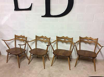 Rare Set Of 4 Windsor Dining Chairs Elm Blonde 1960 Model 493