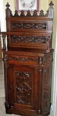 Outstanding Highly Carved Middle 1800s Antique Gothic Server Cabinet