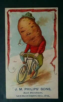 Potato Vegetable People Riding a Bicycle Victorian Trade Card JM PHILIPS SONS PA