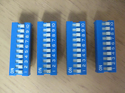 4 off 10 Way Individual On Off PCB Switch DIL DIP package
