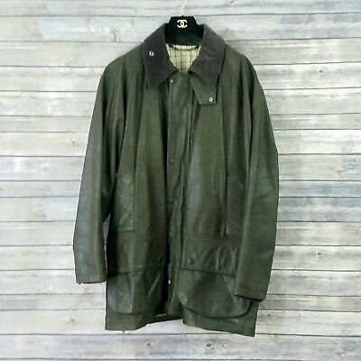 Men's Barbour Sz Large Beaufort Jacket Green Leather Wool Lining Pockets