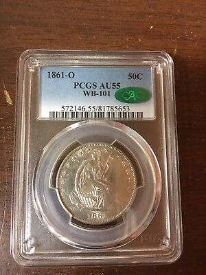 1861-O 50C Liberty Seated Half Dollar pcgs au 55