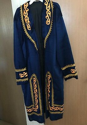 Festive Kazakh Blue Velvet Chapan with Gold Embroidery & Applique & Matching Hat