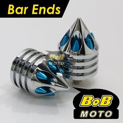 Chrome / Blue Spike Bar Ends For Kawasaki ZX9R Ninja 1994-2003 95 96 97 98 99