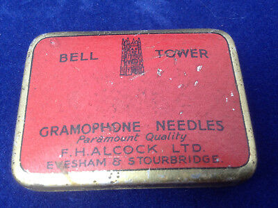 Gramophone Needle Tin  - BELL TOWER - F. H. Alcock Evesham & Stourbridge
